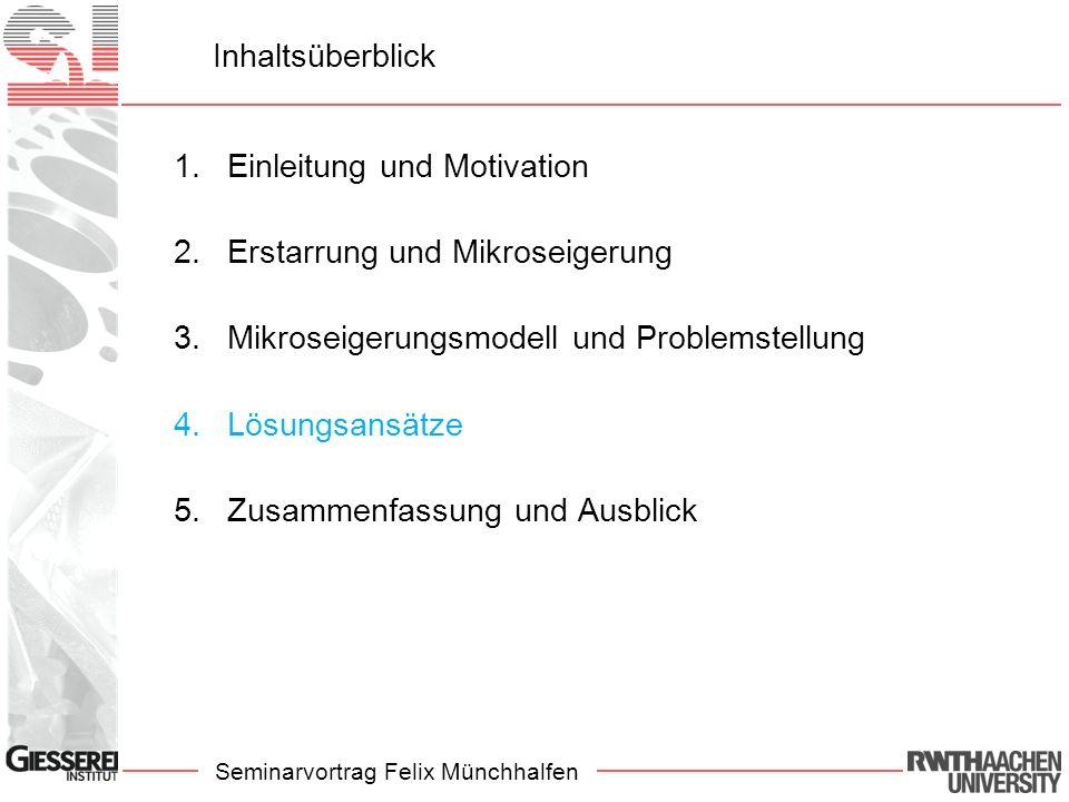 Seminarvortrag Felix Münchhalfen Inhaltsüberblick 1.Einleitung und Motivation 2.Erstarrung und Mikroseigerung 3.Mikroseigerungsmodell und Problemstell