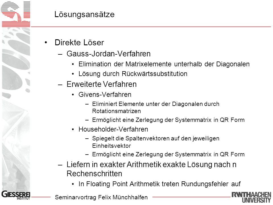 Seminarvortrag Felix Münchhalfen Lösungsansätze Direkte Löser –Gauss-Jordan-Verfahren Elimination der Matrixelemente unterhalb der Diagonalen Lösung d