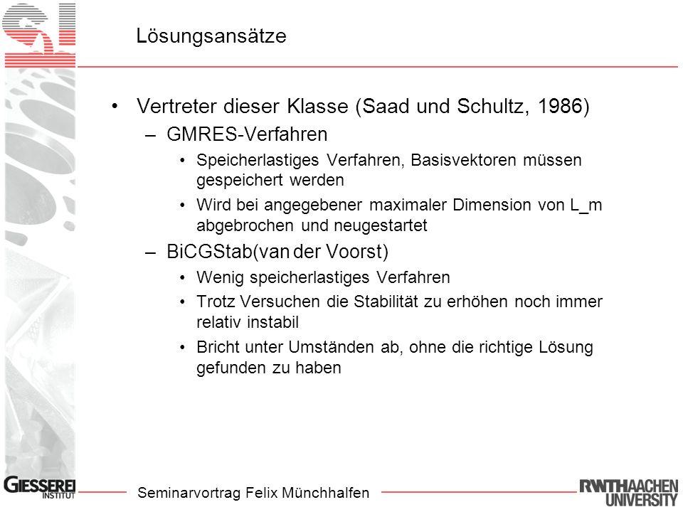 Seminarvortrag Felix Münchhalfen Lösungsansätze Vertreter dieser Klasse (Saad und Schultz, 1986) –GMRES-Verfahren Speicherlastiges Verfahren, Basisvek