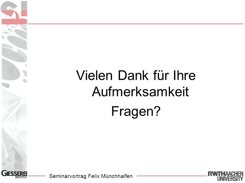 Seminarvortrag Felix Münchhalfen Vielen Dank für Ihre Aufmerksamkeit Fragen