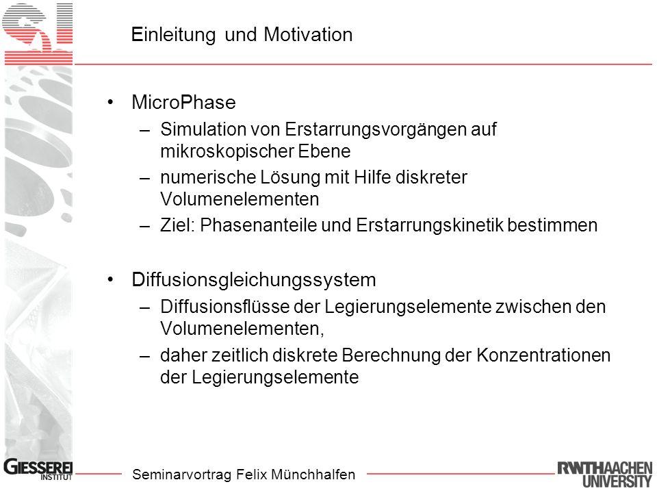 Seminarvortrag Felix Münchhalfen Einleitung und Motivation MicroPhase –Simulation von Erstarrungsvorgängen auf mikroskopischer Ebene –numerische Lösun