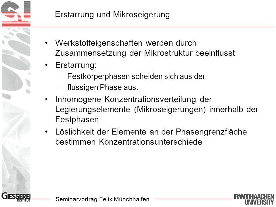 Seminarvortrag Felix Münchhalfen Erstarrung und Mikroseigerung Mikroseigerung –Umverteilungen der Elemente an der Phasengrenzfläche –Örtlich ungleichmäßige Verteilung der Legierungselemente innerhalb der festen Phase –Anteil der festen Phase ändert sich durch Diffusion