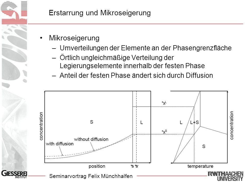 Seminarvortrag Felix Münchhalfen Erstarrung und Mikroseigerung Mikroseigerung –Umverteilungen der Elemente an der Phasengrenzfläche –Örtlich ungleichm