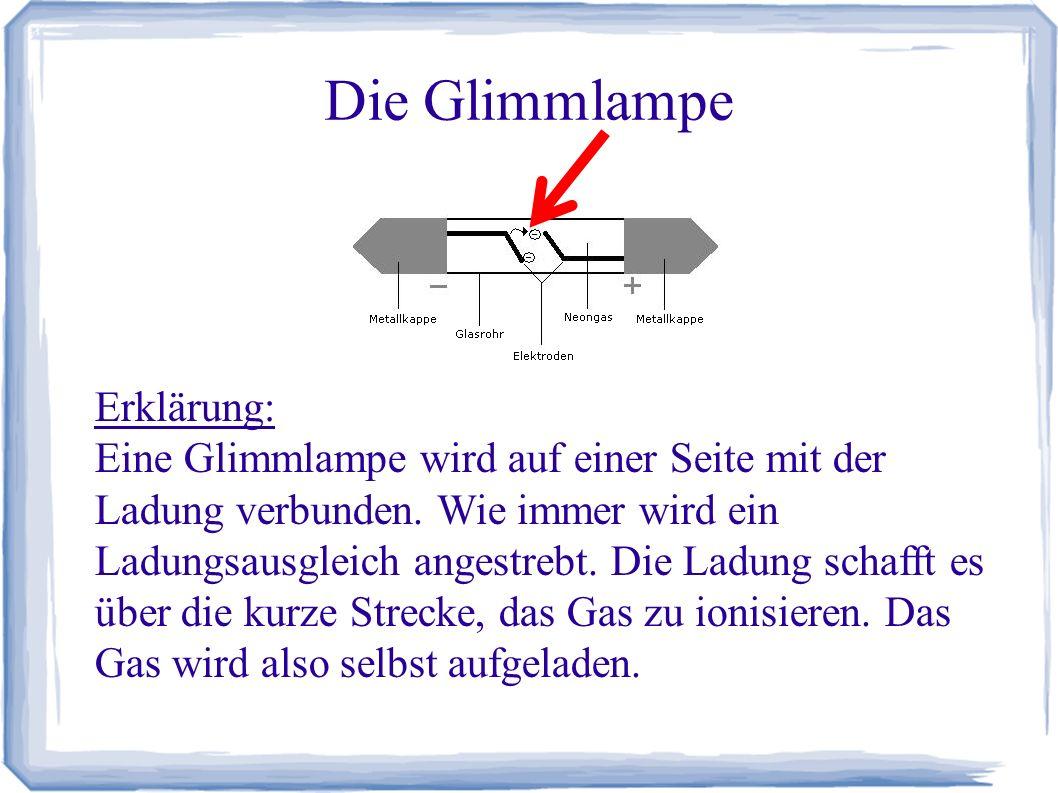 Die Glimmlampe Erklärung: Eine Glimmlampe wird auf einer Seite mit der Ladung verbunden. Wie immer wird ein Ladungsausgleich angestrebt. Die Ladung sc