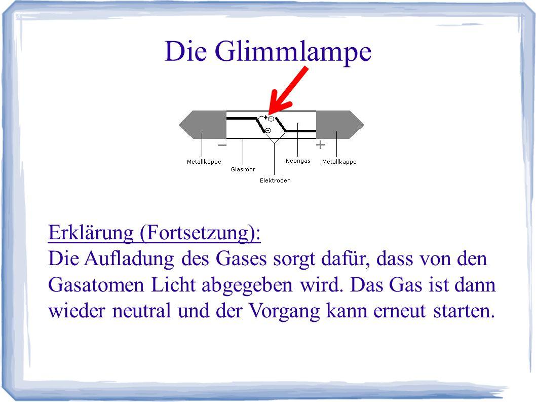 Die Glimmlampe Erklärung (Fortsetzung): Die Aufladung des Gases sorgt dafür, dass von den Gasatomen Licht abgegeben wird. Das Gas ist dann wieder neut