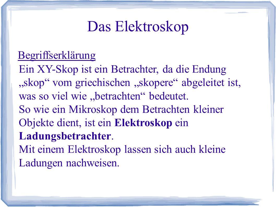 """Das Elektroskop Begriffserklärung Ein XY-Skop ist ein Betrachter, da die Endung """"skop"""" vom griechischen """"skopere"""" abgeleitet ist, was so viel wie """"bet"""