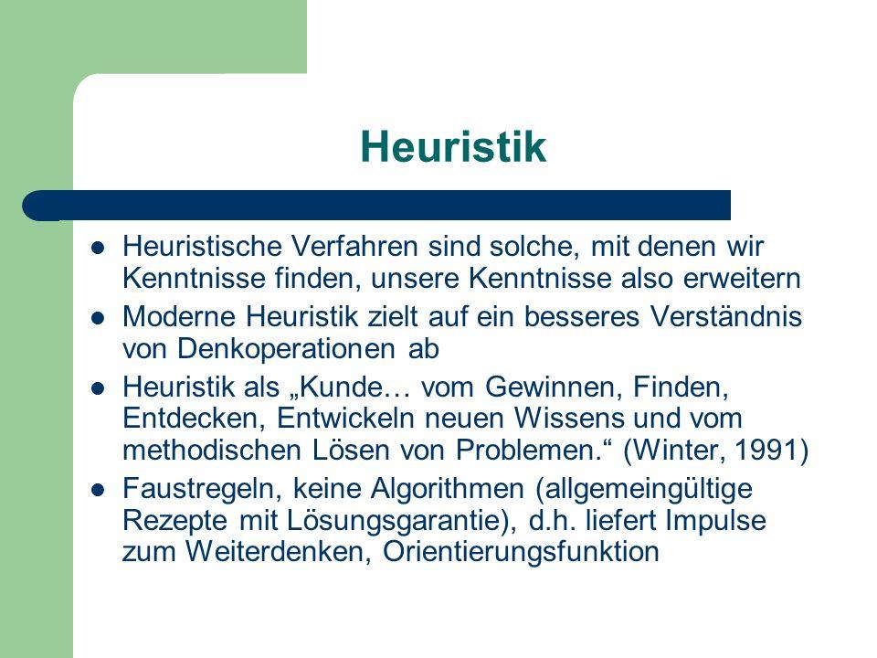 """Heuristik Heuristische Verfahren sind solche, mit denen wir Kenntnisse finden, unsere Kenntnisse also erweitern Moderne Heuristik zielt auf ein besseres Verständnis von Denkoperationen ab Heuristik als """"Kunde… vom Gewinnen, Finden, Entdecken, Entwickeln neuen Wissens und vom methodischen Lösen von Problemen. (Winter, 1991) Faustregeln, keine Algorithmen (allgemeingültige Rezepte mit Lösungsgarantie), d.h."""