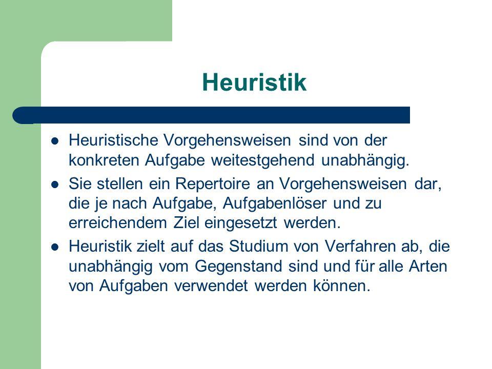Heuristik Heuristische Vorgehensweisen sind von der konkreten Aufgabe weitestgehend unabhängig.
