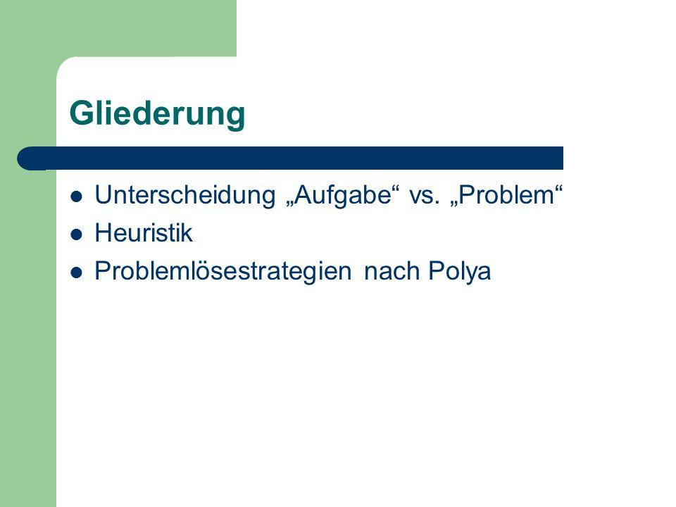 """Gliederung Unterscheidung """"Aufgabe"""" vs. """"Problem"""" Heuristik Problemlösestrategien nach Polya"""