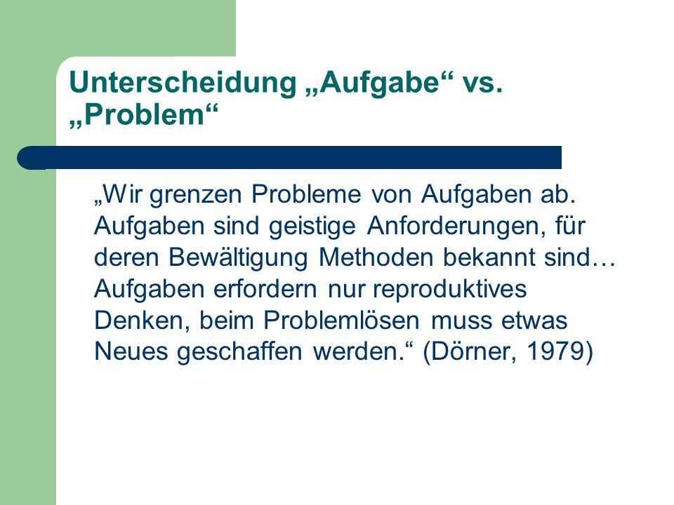 """Unterscheidung """"Aufgabe"""" vs. """"Problem"""" """"Wir grenzen Probleme von Aufgaben ab. Aufgaben sind geistige Anforderungen, für deren Bewältigung Methoden bek"""
