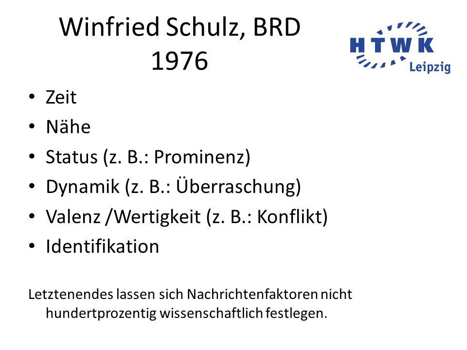 Winfried Schulz, BRD 1976 Zeit Nähe Status (z. B.: Prominenz) Dynamik (z. B.: Überraschung) Valenz /Wertigkeit (z. B.: Konflikt) Identifikation Letzte