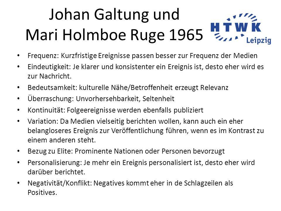 Johan Galtung und Mari Holmboe Ruge 1965 Frequenz: Kurzfristige Ereignisse passen besser zur Frequenz der Medien Eindeutigkeit: Je klarer und konsiste