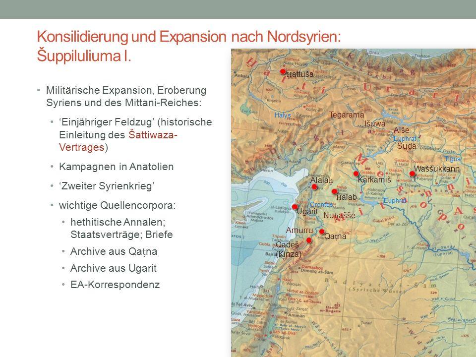Konsilidierung und Expansion nach Nordsyrien: Šuppiluliuma I. Militärische Expansion, Eroberung Syriens und des Mittani-Reiches: 'Einjähriger Feldzug'