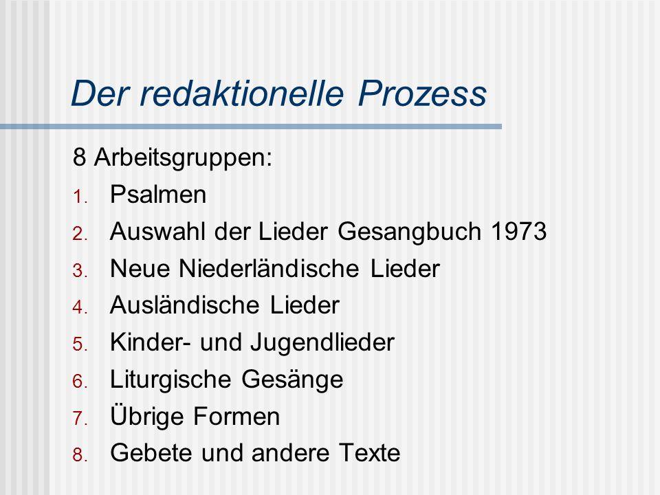 Der redaktionelle Prozess 8 Arbeitsgruppen: 1. Psalmen 2. Auswahl der Lieder Gesangbuch 1973 3. Neue Niederländische Lieder 4. Ausländische Lieder 5.