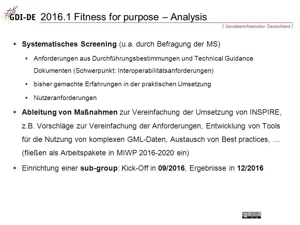 Geodateninfrastruktur Deutschland  Systematisches Screening (u.a. durch Befragung der MS)  Anforderungen aus Durchführungsbestimmungen und Technical