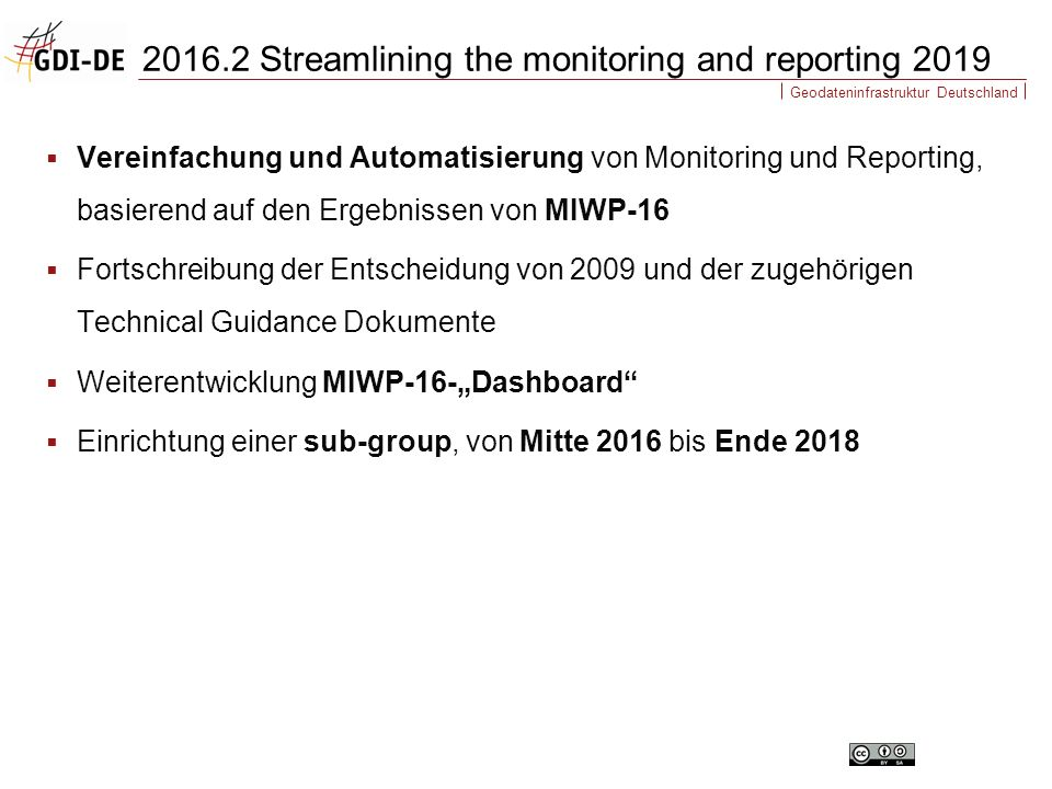 Geodateninfrastruktur Deutschland  Vereinfachung und Automatisierung von Monitoring und Reporting, basierend auf den Ergebnissen von MIWP-16  Fortsc