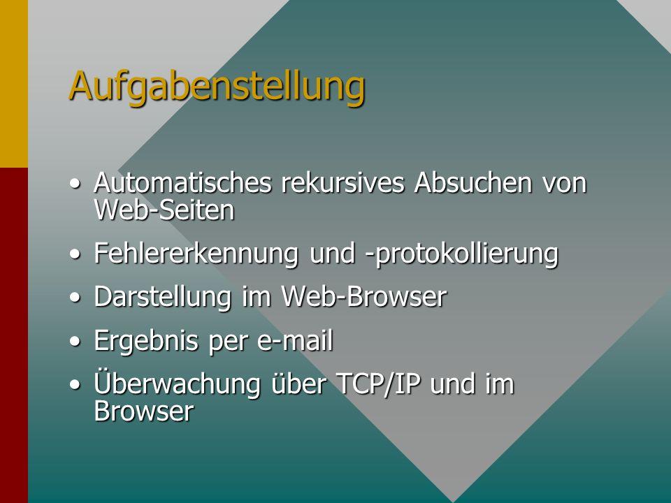 Aufgabenstellung Automatisches rekursives Absuchen von Web-SeitenAutomatisches rekursives Absuchen von Web-Seiten Fehlererkennung und -protokollierungFehlererkennung und -protokollierung Darstellung im Web-BrowserDarstellung im Web-Browser Ergebnis per e-mailErgebnis per e-mail Überwachung über TCP/IP und im BrowserÜberwachung über TCP/IP und im Browser