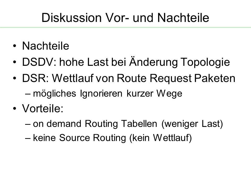 Diskussion Vor- und Nachteile Nachteile DSDV: hohe Last bei Änderung Topologie DSR: Wettlauf von Route Request Paketen – mögliches Ignorieren kurzer Wege Vorteile: – on demand Routing Tabellen (weniger Last) – keine Source Routing (kein Wettlauf)