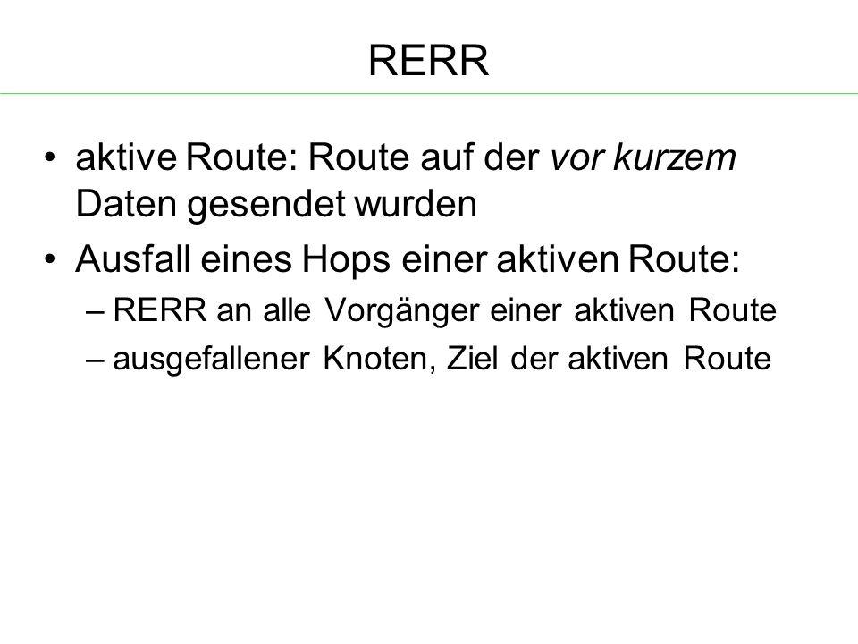 RERR aktive Route: Route auf der vor kurzem Daten gesendet wurden Ausfall eines Hops einer aktiven Route: – RERR an alle Vorgänger einer aktiven Route – ausgefallener Knoten, Ziel der aktiven Route