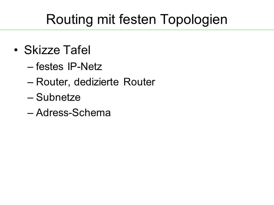 Routing mit festen Topologien Skizze Tafel – festes IP-Netz – Router, dedizierte Router – Subnetze – Adress-Schema