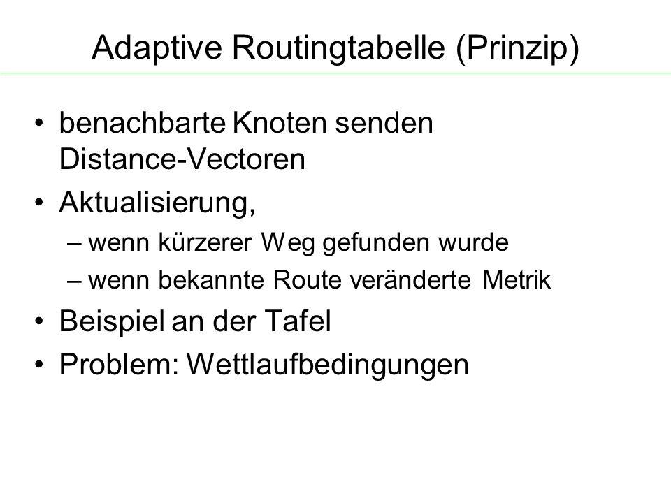 Adaptive Routingtabelle (Prinzip) benachbarte Knoten senden Distance-Vectoren Aktualisierung, – wenn kürzerer Weg gefunden wurde – wenn bekannte Route veränderte Metrik Beispiel an der Tafel Problem: Wettlaufbedingungen