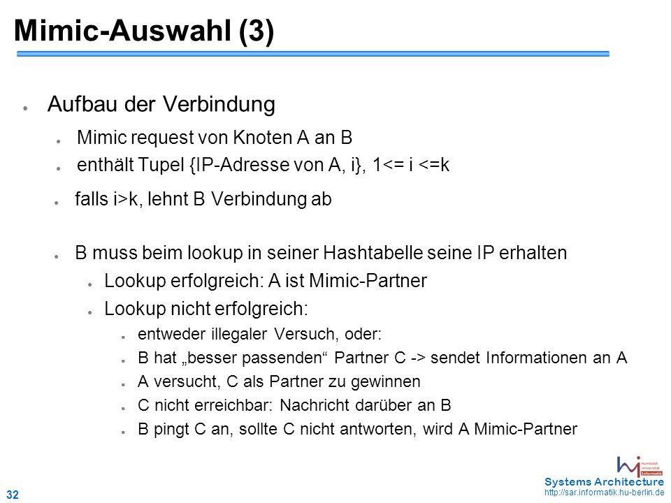 """32 May 2006 - 32 Systems Architecture http://sar.informatik.hu-berlin.de Mimic-Auswahl (3) ● Aufbau der Verbindung ● Mimic request von Knoten A an B ● enthält Tupel {IP-Adresse von A, i}, 1<= i <=k ● falls i>k, lehnt B Verbindung ab ● B muss beim lookup in seiner Hashtabelle seine IP erhalten ● Lookup erfolgreich: A ist Mimic-Partner ● Lookup nicht erfolgreich: ● entweder illegaler Versuch, oder: ● B hat """"besser passenden Partner C -> sendet Informationen an A ● A versucht, C als Partner zu gewinnen ● C nicht erreichbar: Nachricht darüber an B ● B pingt C an, sollte C nicht antworten, wird A Mimic-Partner"""