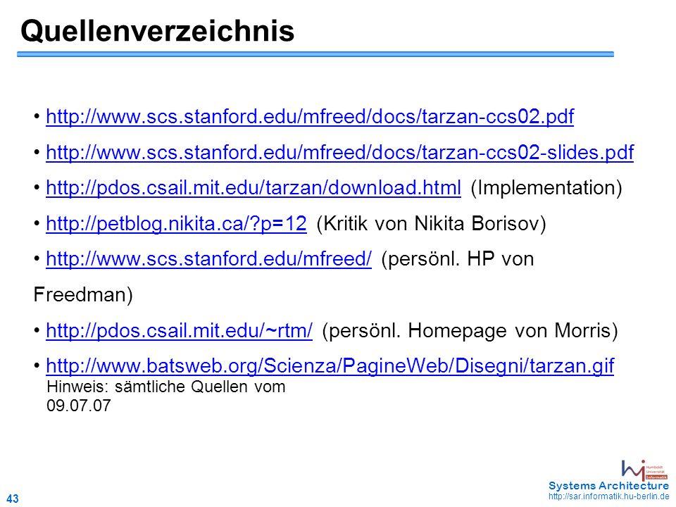 43 May 2006 - 43 Systems Architecture http://sar.informatik.hu-berlin.de Quellenverzeichnis http://www.scs.stanford.edu/mfreed/docs/tarzan-ccs02.pdf http://www.scs.stanford.edu/mfreed/docs/tarzan-ccs02-slides.pdf http://pdos.csail.mit.edu/tarzan/download.html (Implementation)http://pdos.csail.mit.edu/tarzan/download.html http://petblog.nikita.ca/ p=12 (Kritik von Nikita Borisov)http://petblog.nikita.ca/ p=12 http://www.scs.stanford.edu/mfreed/ (persönl.