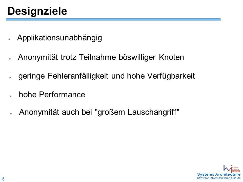 6 May 2006 - 6 Systems Architecture http://sar.informatik.hu-berlin.de Welche Möglichkeiten existieren bisher.