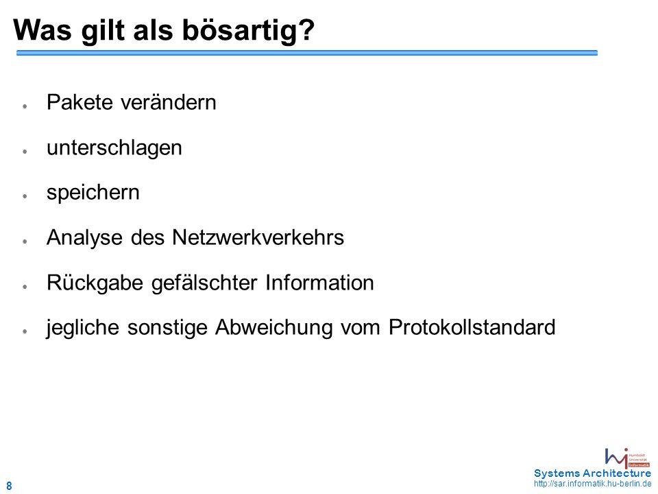 29 May 2006 - 29 Systems Architecture http://sar.informatik.hu-berlin.de Mimics (2) ● k global festgelegt ● Beispiel: ~5 Mimic-Partner pro Knoten