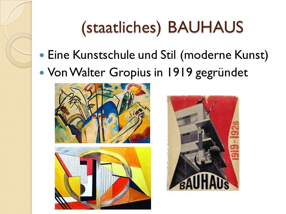 (staatliches) BAUHAUS Eine Kunstschule und Stil (moderne Kunst) Von Walter Gropius in 1919 gegründet