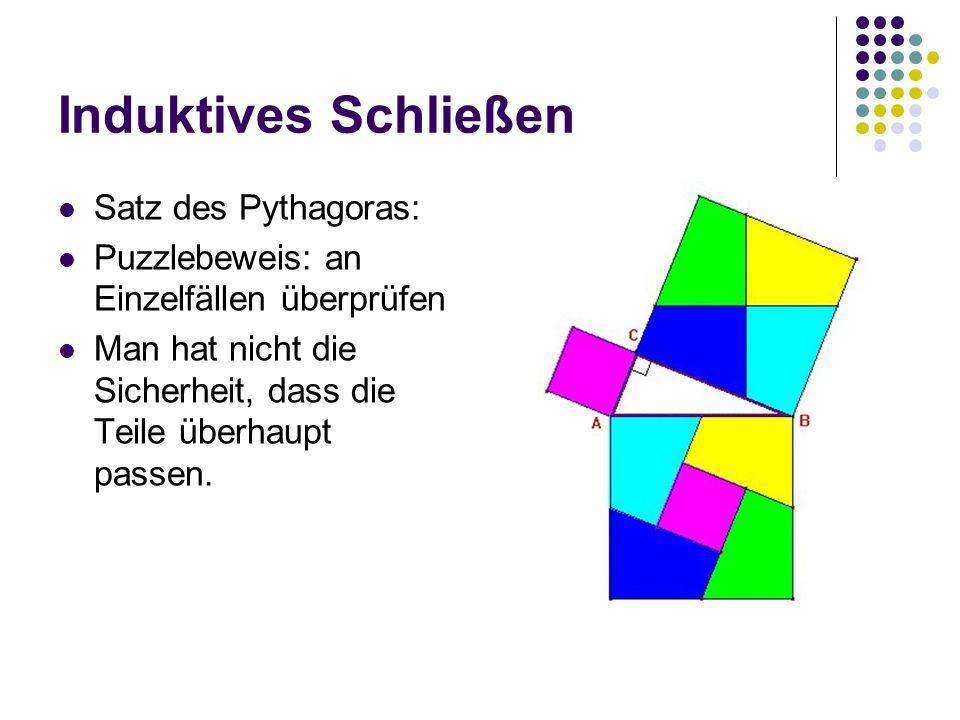 Induktives Schließen Satz des Pythagoras: Puzzlebeweis: an Einzelfällen überprüfen Man hat nicht die Sicherheit, dass die Teile überhaupt passen.