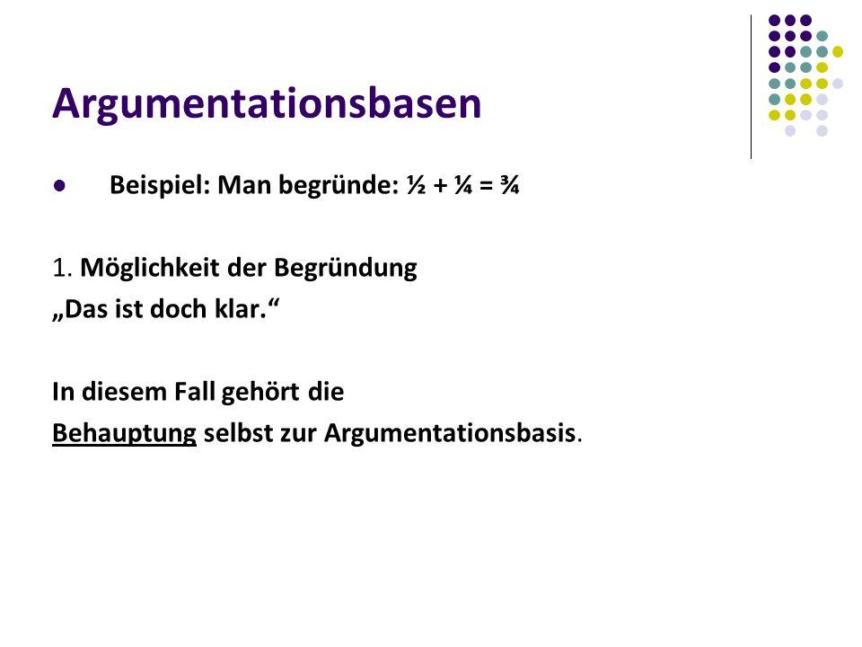 Argumentationsbasen Beispiel: Man begründe: ½ + ¼ = ¾ 1.