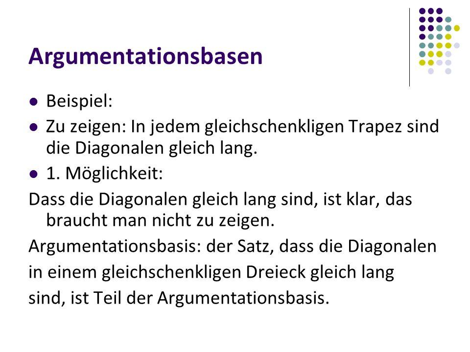 Argumentationsbasen Beispiel: Zu zeigen: In jedem gleichschenkligen Trapez sind die Diagonalen gleich lang.