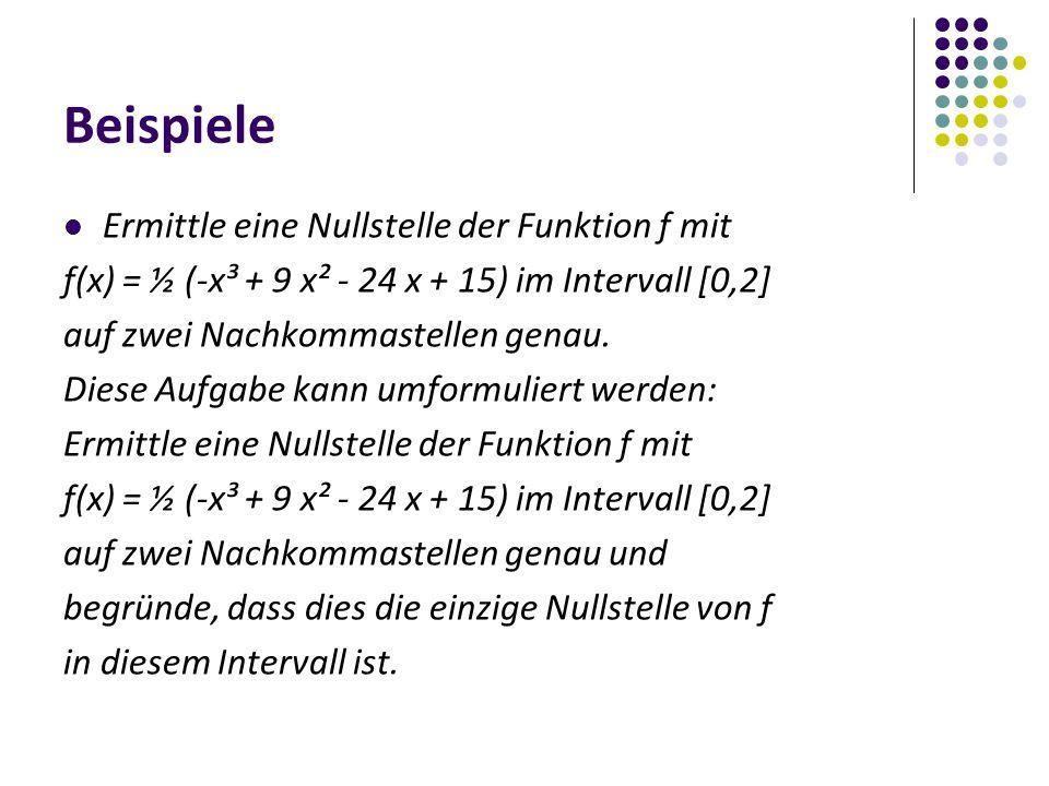 Beispiele Ermittle eine Nullstelle der Funktion f mit f(x) = ½ (-x³ + 9 x² - 24 x + 15) im Intervall [0,2] auf zwei Nachkommastellen genau.