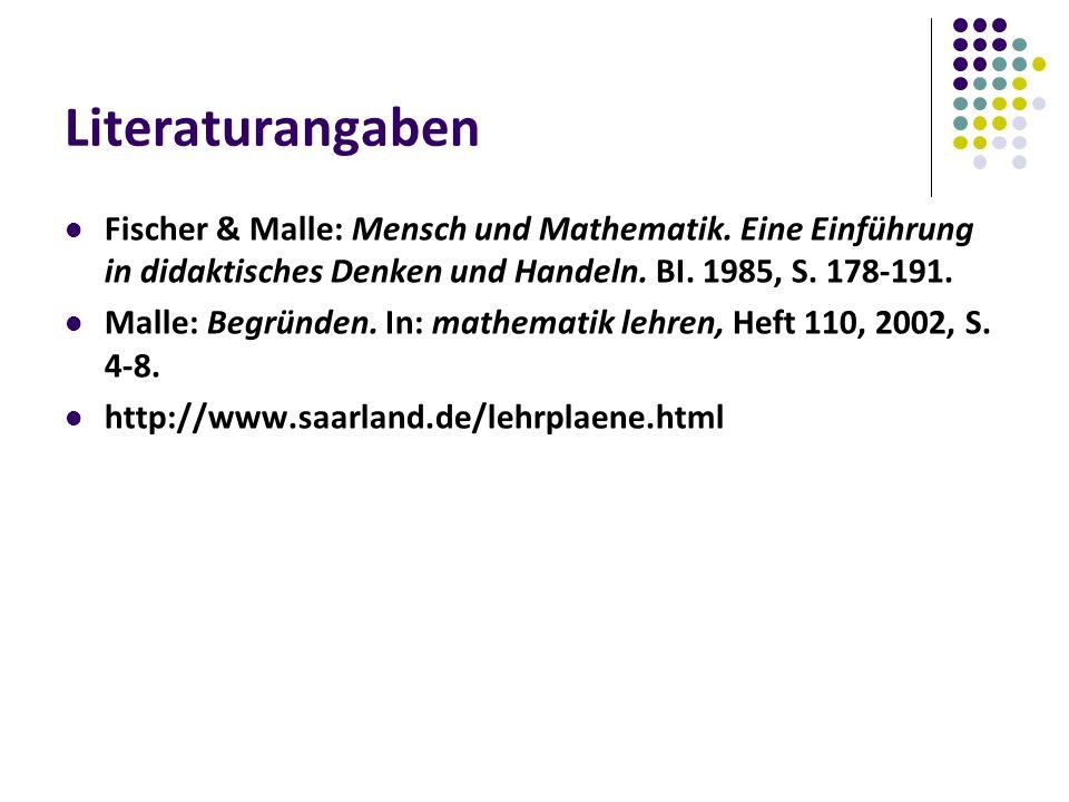 Literaturangaben Fischer & Malle: Mensch und Mathematik.