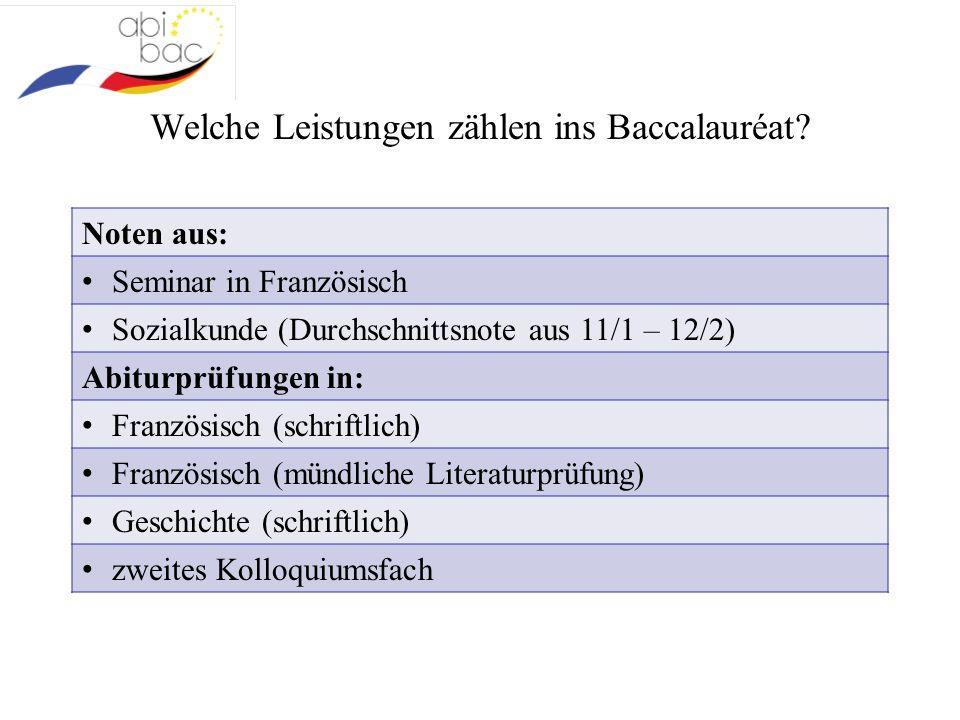 Welche Leistungen zählen ins Baccalauréat? Noten aus: Seminar in Französisch Sozialkunde (Durchschnittsnote aus 11/1 – 12/2) Abiturprüfungen in: Franz