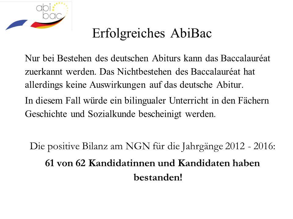 Erfolgreiches AbiBac Nur bei Bestehen des deutschen Abiturs kann das Baccalauréat zuerkannt werden. Das Nichtbestehen des Baccalauréat hat allerdings