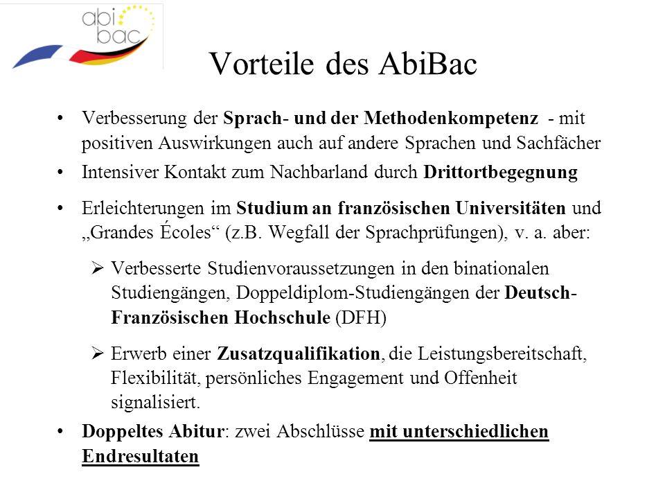 Vorteile des AbiBac Verbesserung der Sprach- und der Methodenkompetenz - mit positiven Auswirkungen auch auf andere Sprachen und Sachfächer Intensiver