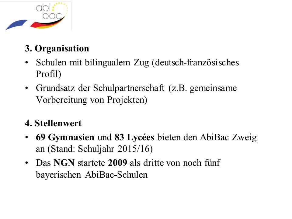 3. Organisation Schulen mit bilingualem Zug (deutsch-französisches Profil) Grundsatz der Schulpartnerschaft (z.B. gemeinsame Vorbereitung von Projekte