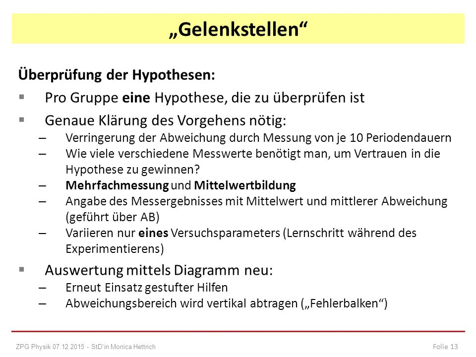 Überprüfung der Hypothesen:  Pro Gruppe eine Hypothese, die zu überprüfen ist  Genaue Klärung des Vorgehens nötig: – Verringerung der Abweichung dur
