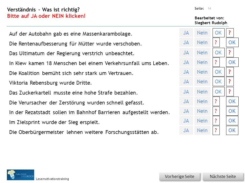 Übungsart: Seite: Bearbeitet von: Siegbert Rudolph Lesemotivationstraining Verständnis - Was ist richtig.