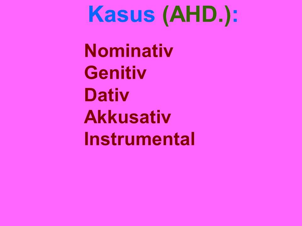 Kasus (AHD.): Nominativ Genitiv Dativ Akkusativ Instrumental
