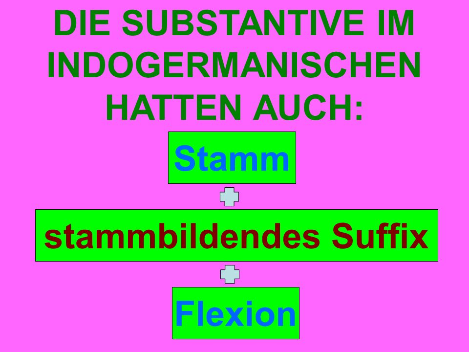 Stamm DIE SUBSTANTIVE IM INDOGERMANISCHEN HATTEN AUCH: stammbildendes Suffix Flexion
