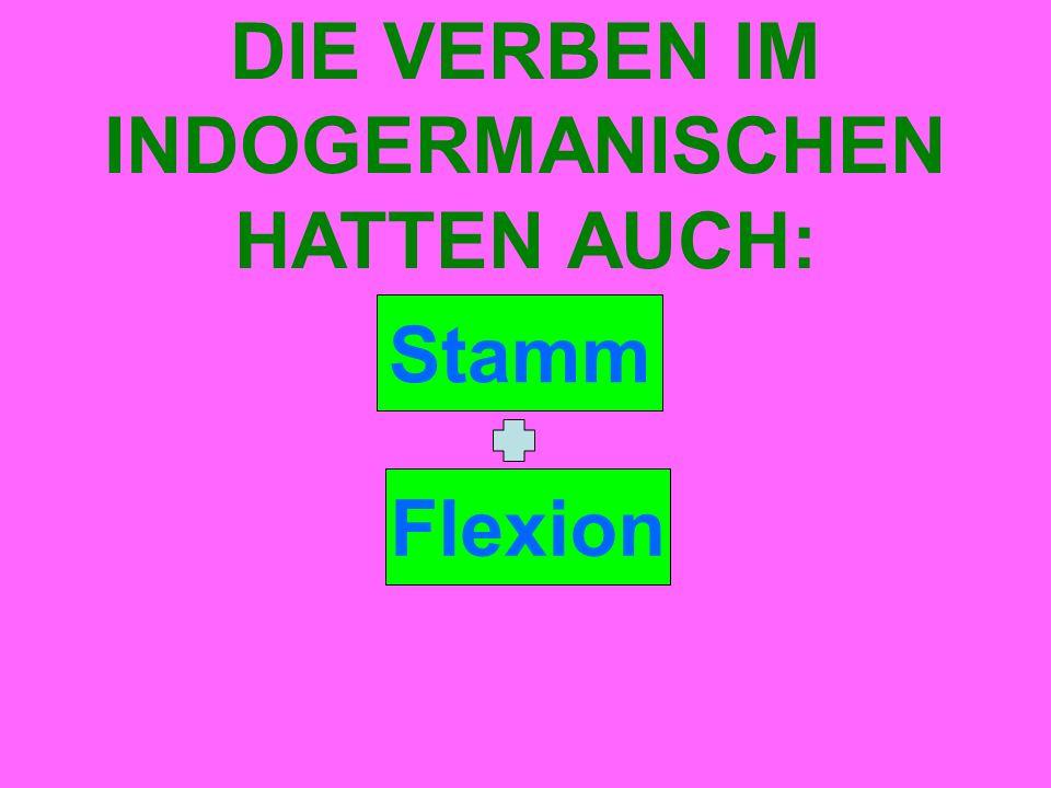 Stamm DIE VERBEN IM INDOGERMANISCHEN HATTEN AUCH: Flexion