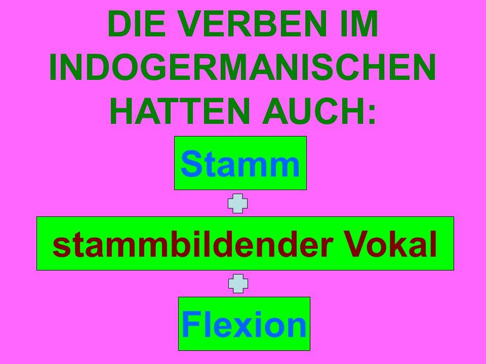 Stamm DIE VERBEN IM INDOGERMANISCHEN HATTEN AUCH: stammbildender Vokal Flexion