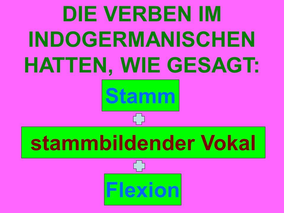 Stamm DIE VERBEN IM INDOGERMANISCHEN HATTEN, WIE GESAGT: stammbildender Vokal Flexion
