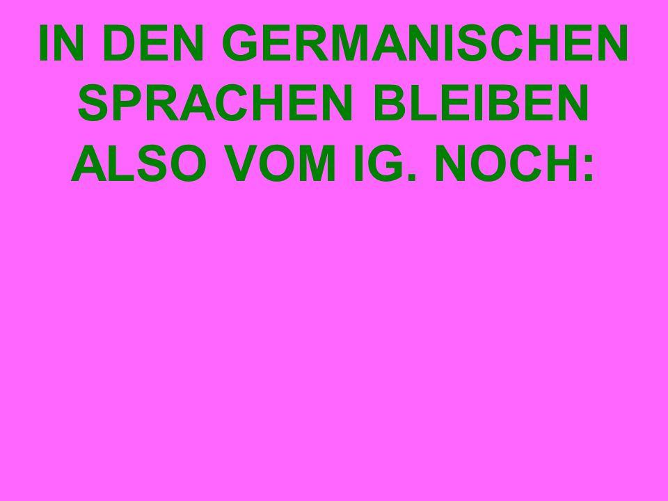 IN DEN GERMANISCHEN SPRACHEN BLEIBEN ALSO VOM IG. NOCH: