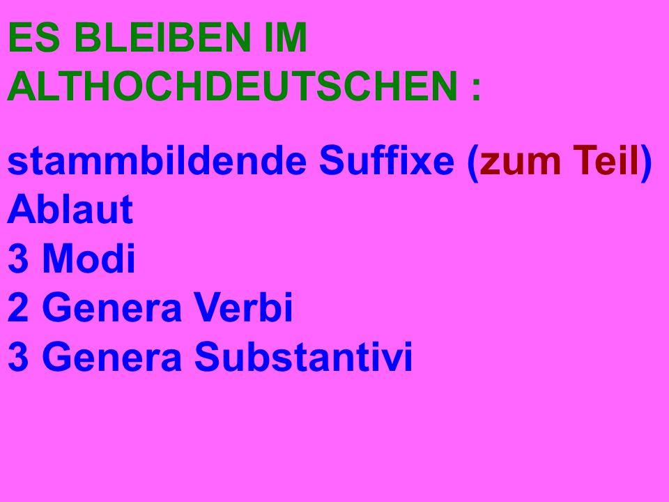 ES BLEIBEN IM ALTHOCHDEUTSCHEN : stammbildende Suffixe (zum Teil) Ablaut 3 Modi 2 Genera Verbi 3 Genera Substantivi