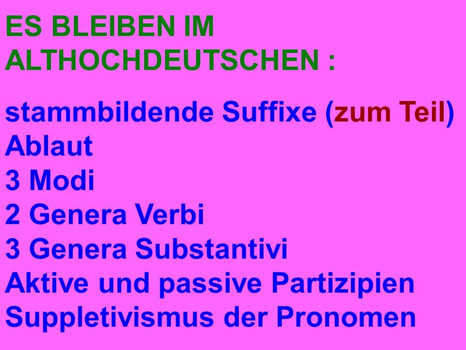 ES BLEIBEN IM ALTHOCHDEUTSCHEN : stammbildende Suffixe (zum Teil) Ablaut 3 Modi 2 Genera Verbi 3 Genera Substantivi Aktive und passive Partizipien Suppletivismus der Pronomen