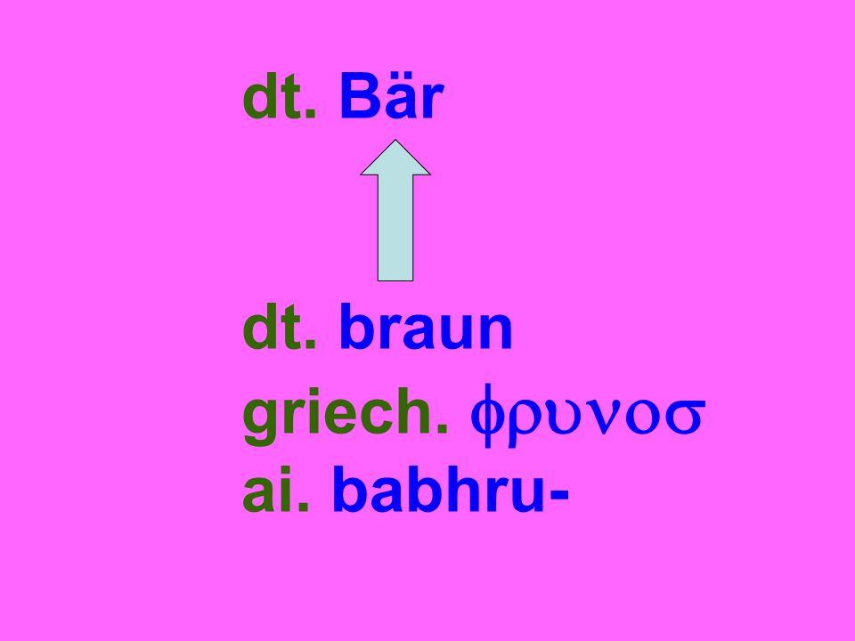 dt. Bär dt. braun griech.  ai. babhru-